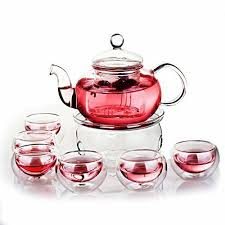 green yiko heat resistant elegant glass tea pot set infuser teapot warmer 6 doub