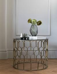 brass black glass drum coffee table