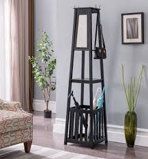 Cherry Finish Wood Hall Tree Coat Rack Kendall Black Cherry or White Wood Contemporary Entryway Hall Tree 74