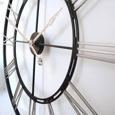 Small Picture Extra Large big 1 meter Roman Silver and Black Skeleton Wall Clock