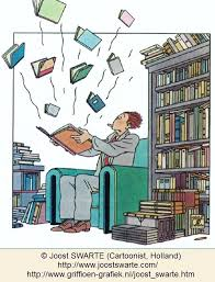 flying books cartoon joost swarte cartoonist holland a man in a library opens a book and is surprised as ten more books e flying out of it