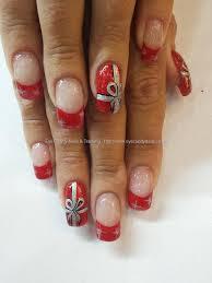 Christmas Nail Designs 2013 Red Polish With Christmas Present Nail Art And Silver Stars