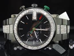 men s diamond gucci watches diamond gucci watch mens 6 ct 101g ya101331 black pvd chronograph iced band