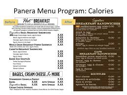 panera menu program calories
