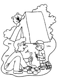 Kleurplaat Vakantie Camping Vuurtje Stoken 4509 Kleurplaten
