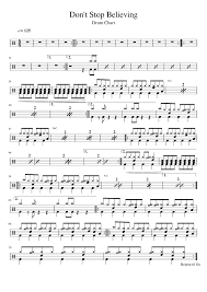 Drum Charts Dont Stop Believing Drum Chart Sheet Music For Percussion