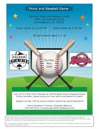 Picnic Flyers Gulf Coast Picnic Baseball Outing Williams Syndrome Association
