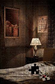 the spoiler image depicts a puzzle of a bedroom with the famous painting the of marat by jacques louis david hanging on the wall