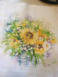 Fo Finished Riolis Watercolor Sunflowers Crossstitch