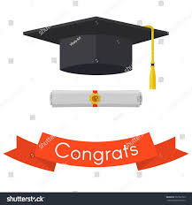 black graduation cap diploma vintage red stock vector  black graduation cap and diploma vintage red ribbon invitation vector flat illustration isolated