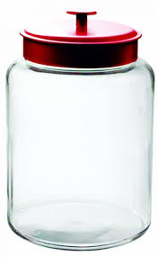 anchor hocking montana glass jar with fresh sealed lid red metal 2 5 gallon