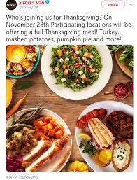 Chart House Thanksgiving 2019 Sizzler Thanksgiving 2019 Menu Dinner Details Yes Open