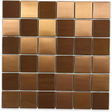 splashback tile metal copper 2 in squares 12 in x 12 in x