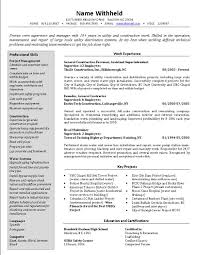 Importance Of A Resume Construction Supervisor Resume Format