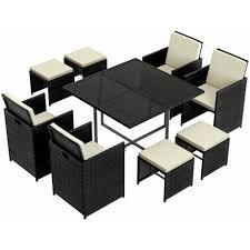 set of 9 pe rattan garden furniture set