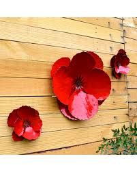 giant wall hanging poppy set of 3 red metal flowers perfect wall or privacy fence accent on poppy flower metal wall art with amazing shopping savings giant wall hanging poppy set of 3 red