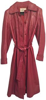 wilsons leather red vintage trench coat style p2265 jacket