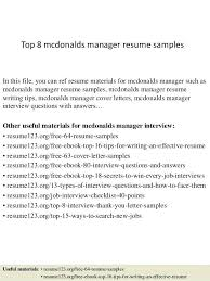 mcdonalds resume top 8 manager resume samples in this file you can ref  resume materials for