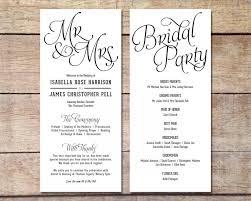 Wedding Program Designs Simple Wedding Program Customizable Elegant Design Simple
