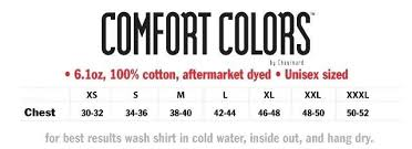 Comfort Colors Unisex Size Chart Curse Of The Gypsy Cursed Creatures