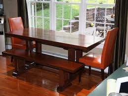 Narrow Kitchen Table Sets Dining Room Table Set With Bench Simple Orange Chairs Long Wooden