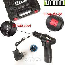 Khoan pin, máy bắt vít Voto 12v, 2 cấp tốc độ màu đen kèm hộp nhựa