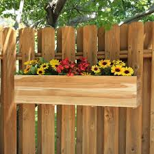 ... Planters, Fence Flower Box Chain Link Fence Planters Rectangle Design  Wooden Gate Flowers: awesome ...