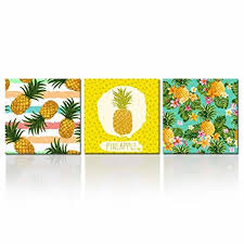 kreative arts hawaii pineapple tropical fruit wall art decor multicolor 3 piece