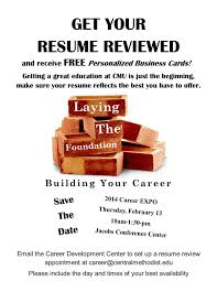 Get your resume reviewed and receive FREE personalized business cards!  Getting a great education at