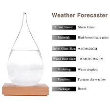 Ggpower Storm Glass Water Drops Weather Forecast Bottle Storm Bottle Meteorological Display Bottle Creative Glass Crafts Home Decoration Large
