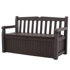 outdoor garden patio deck box storage bench in brown