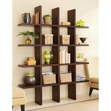 furniture dark brown wooden bookshelves on the floor connected by beige wall theme eye