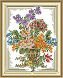 Us 7 54 42 Off Joy Sunday The Beautiful Flower Basket 8 Cross Stitch Pattern Kits Handcraft Make Embroidery With Chart In Package From Home