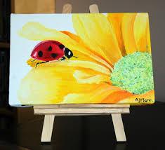 fl canvas art cute animal art yellow flower art art oil painting small painting contemporary artwork fine art painting ladybird art