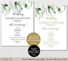 Printable Wedding Program Templates Wedding Program Printable Wedding Program Template Green Leaves