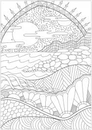 color the diffe elements of this heavenly landscape sun rainbow sea hills