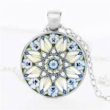 whole whole new flower of life necklace om yoga chakra pendant mandala necklace fashion glass dome sacred geometry women jewelry costume jewelry