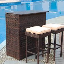 3 piece patio bar set. Unique Set Longshore Tides Guilderland 3 Piece Wicker Patio Bar Set U0026 Reviews  Wayfair Inside
