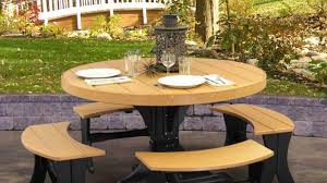 round picnic table with attached benches plans