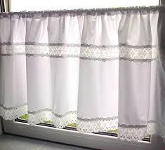 Scheibengardine Weiß Spitze 100 Baumwolle 140 X 50 Cm Handarbeit