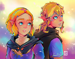 Link wouldn't be the player's link anymore, but a defined character. Breath Of The Wild 2 Zelda And Link Illustration Print Etsy