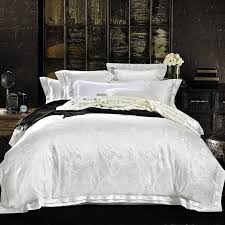 whole white jacquard quilt cover set queen king size bedclothes tencel and cotton blend fabric luxuries jacquard bedding sets twin comforter set