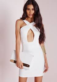 Missguided Cross Front Mini Dress White In White Lyst