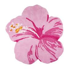 tropical flower pink shaped rug