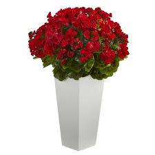 geranium artificial plant in white planter uv resistant indoor