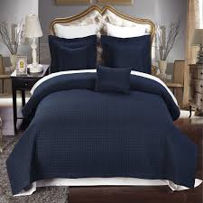 com full queen size navy coverlet 3pc set luxury microfiber checd quilt by royal hotel home kitchen