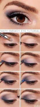 funky prom makeup for brown eyes and blue dress embellishment