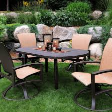 homecrest havenhill 5 piece sling patio dining set with faux stone table top terrace