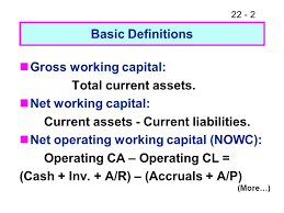 gross working capital total cur assets net working capital