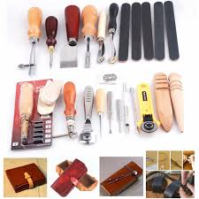 diy leathercraft handmade 19pcs punch stitching sewing groover skiving edger beveler leather working tools kit com